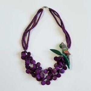 Vintage 1980s Wooden Parrot Necklace